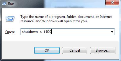 Type shutdown -s -t 600 to auto shutdown Windows 10 after ten minutes