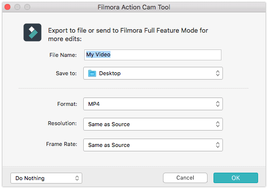 Filmora Action Cam Tool Export