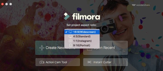 Filmora welcome screen