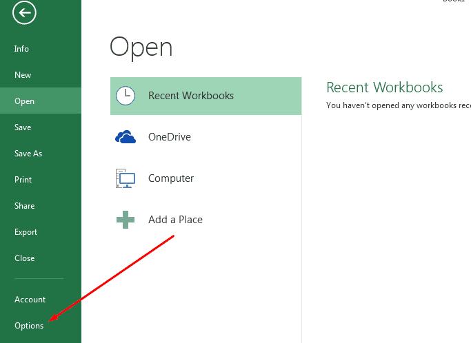 Open MS Excel Options