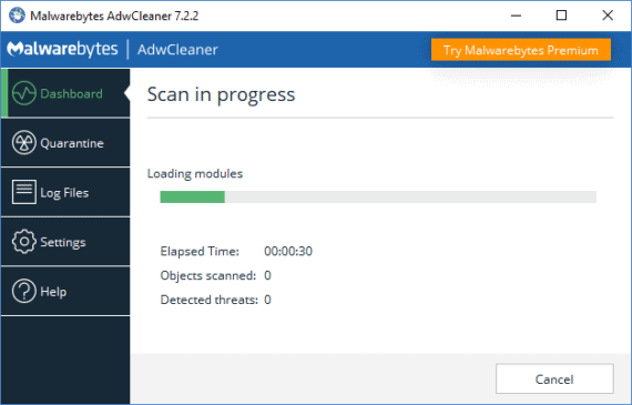 Open AdwCleaner and Click Scan