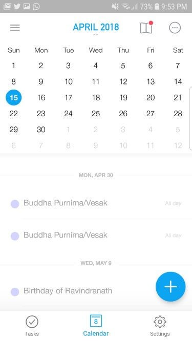 Any.do Calendar app for Android with colorful UI