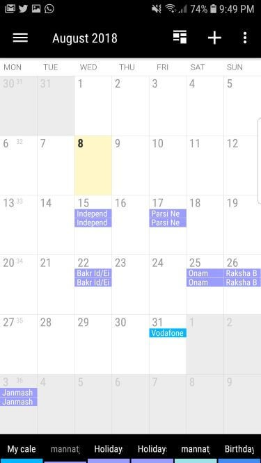 Business Calendar for Android with planner feature