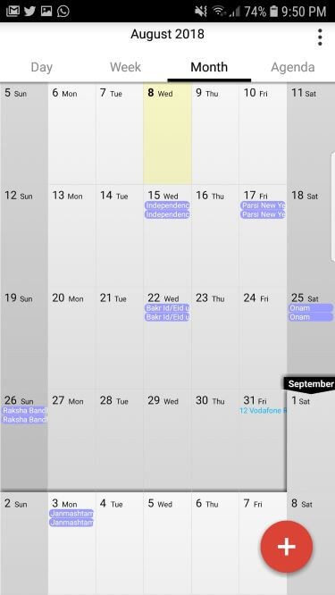 Calengoo Calendar app for Android with basic interface
