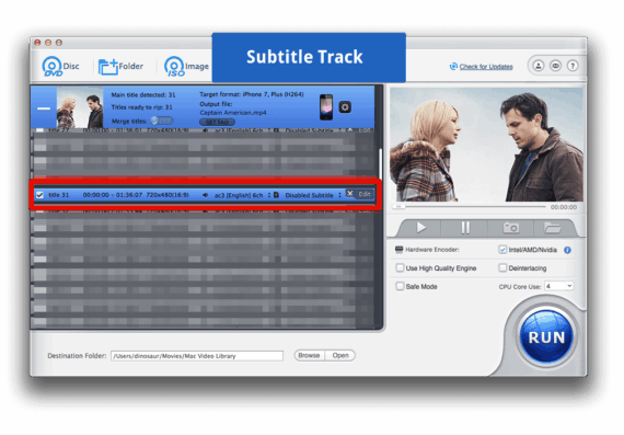 Choose Subtitles track