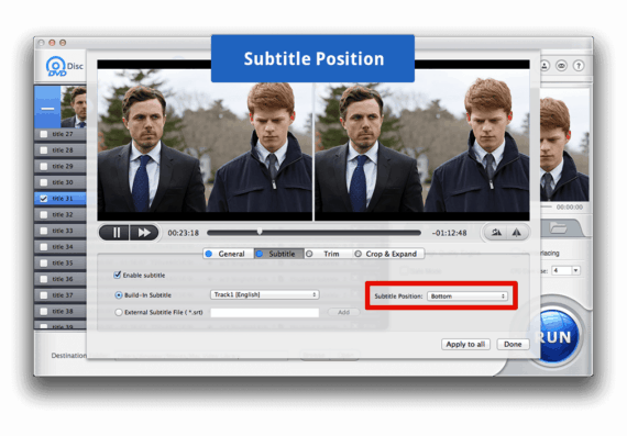 Choose Subtitles Position