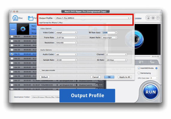 Select output profile to convert DVD to MP4