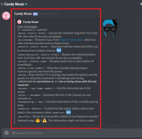 Available list of Discord bot commands