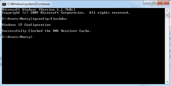 Flush old DNS using command prompt