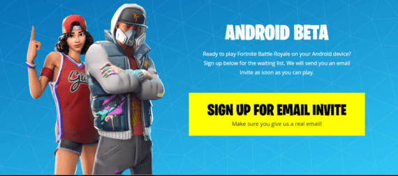 Sign up for email invite to play Fortnite on your Android as Beta