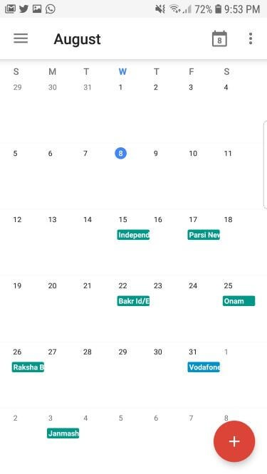 Google Calendar app for Android with simple interface