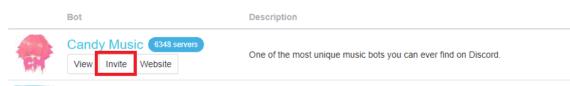 Click Invite to add bot to Discord server