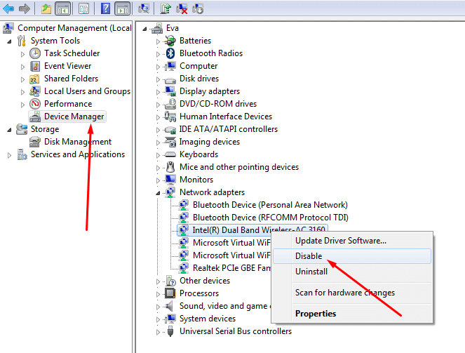 Disable and re-enable the network adapter to solve internet connection is limited problem