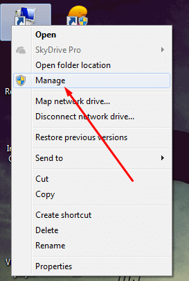 Right click My Computer and and Choose Manage