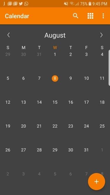 Simple Calendar app for Android with simplistic UI