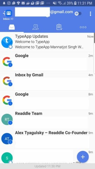 TypeApp Mail app with intuitive UI