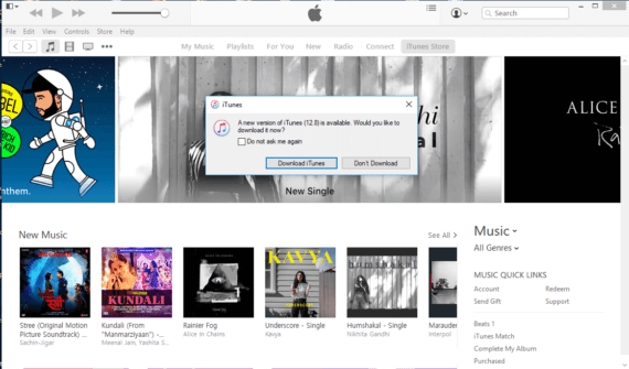 Click on Download Update to update iTunes to latest version
