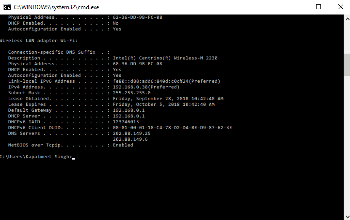 Finding DNS Servers on Windows using ipconfig Command