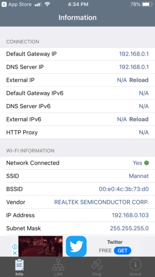 Network Analyser for iOS to find out DNS Servers