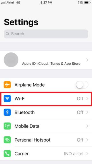 Wi-Fi Options in Settings