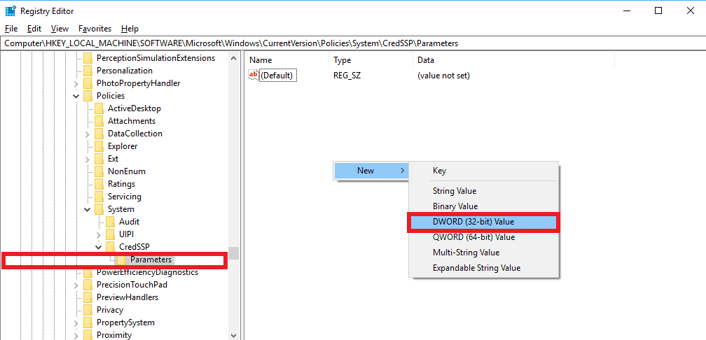 Creating AllowEncryptionOracle DWORD File inside Parameters