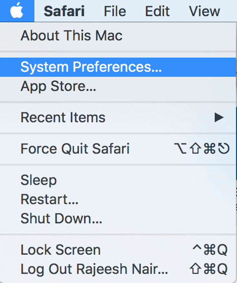 Click Apple icon and select System Preferences...