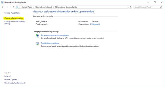 Select Change adapter settings