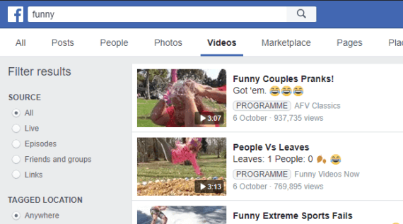 Use Facebook as YouTube alternative to search videos