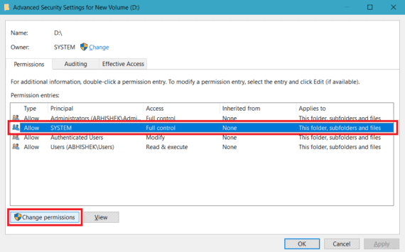 Select the user and click Change Permissions