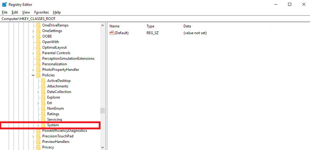 Locate System directory under Policies