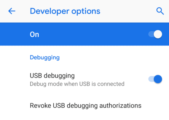 Enable USB Debugging in Developer Options