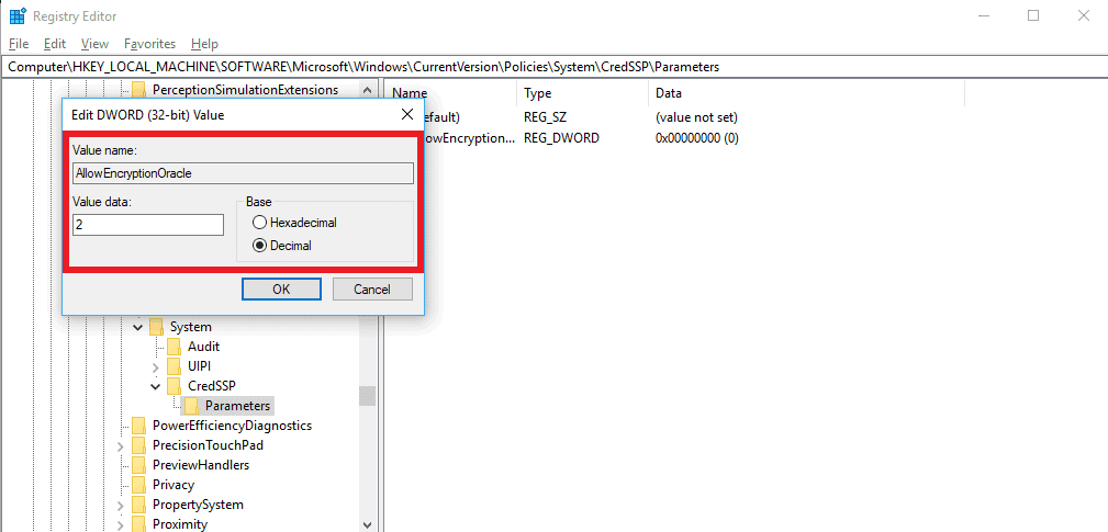 Edit Values data and Base of AllowEncryptionOracle
