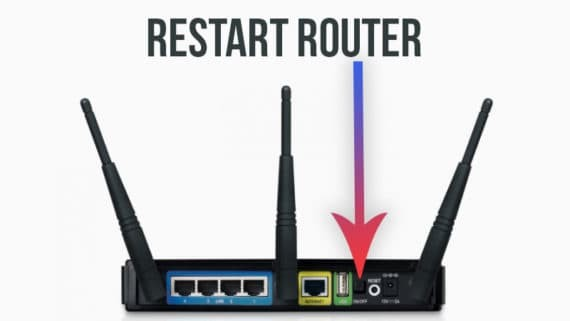 restart router to solve The Default Gateway is Not Available problem