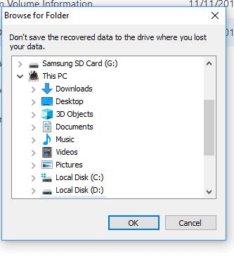 Browsing for Destination Folder
