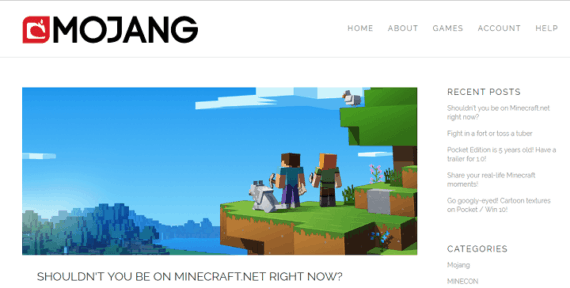 Mojang official website home page