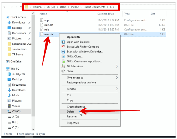 Delete user.dat file from EFL folder