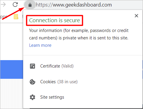 SSL certificate Pad Lock for secure connection