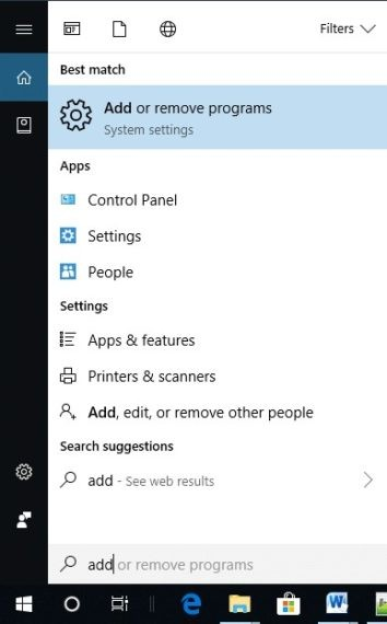 Search for Add or remove apps in search bar
