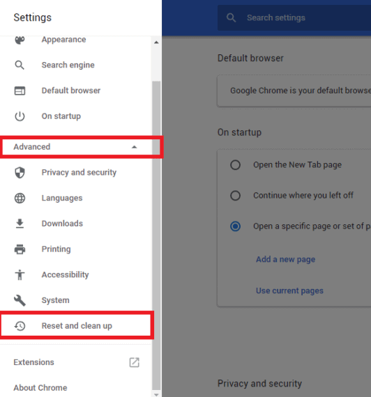 Advanced Settings of Chrome to Reset and clean up