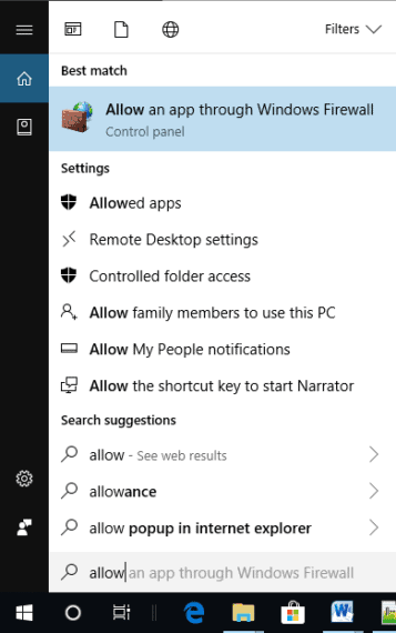 Search for Allow an app through Windows Firewall