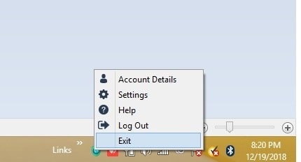 Windows taskbar with VeePN icon to Log Out or Exit
