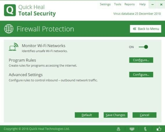 Program Rules of Firewall Settings in Quick Heal