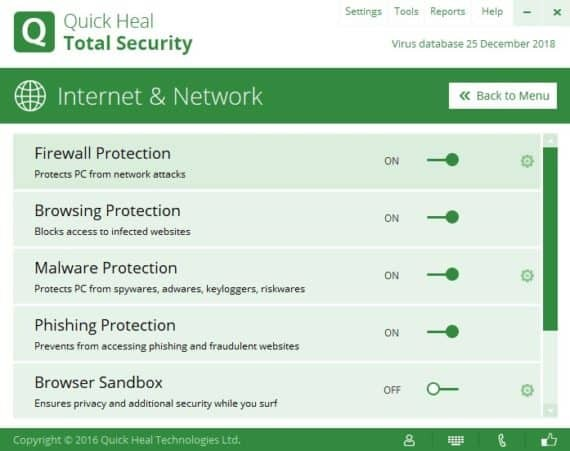 Firewall Protection Settings of Quick Heal