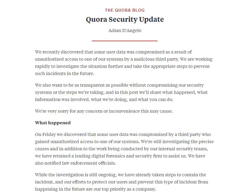 Quora's response on the hack