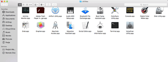 Utilities Area on Mac