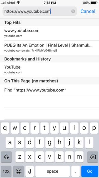 Type YouTube URL in Safari addres bar