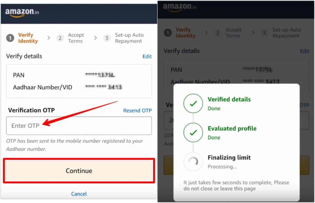 Amazon Pay EMI Credit Limit Validation