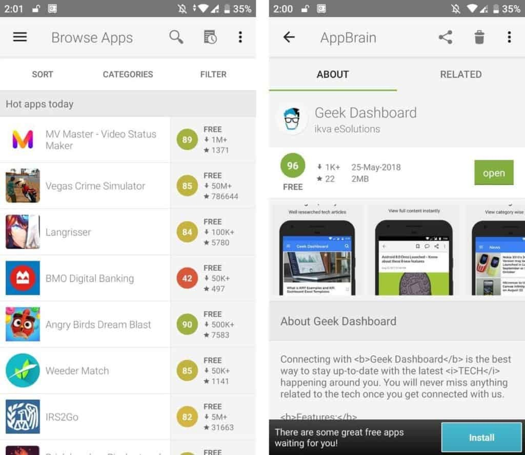 AppBrain Google Play Store alternative user interface