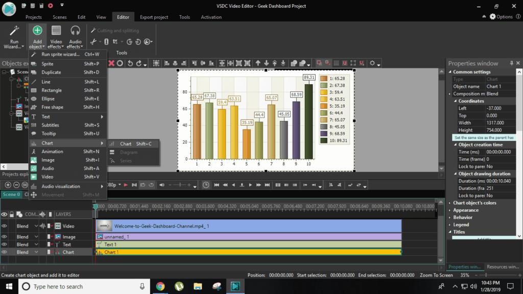 Charts in VSDC editor