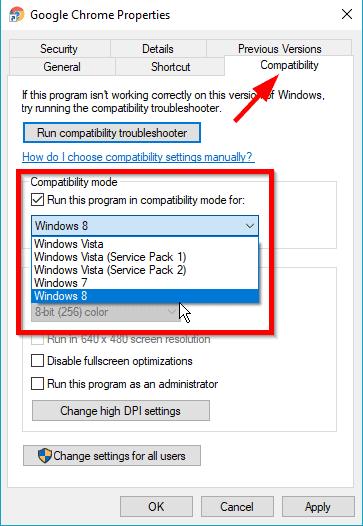 Chrome Compatibility Mode in Windows